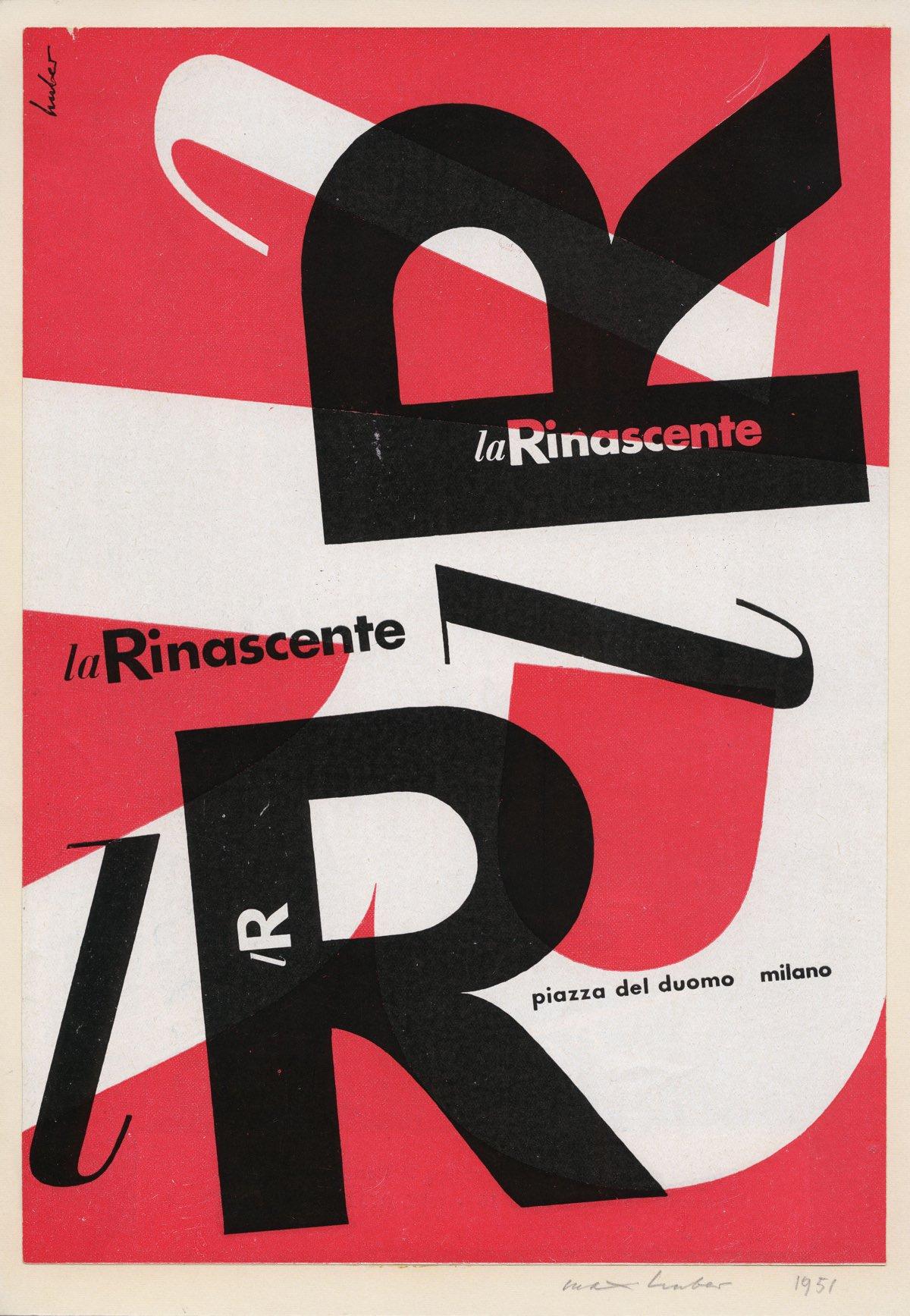 Max Huber, l R – la Rinascente, 1951, pagina pubblicitaria, 29,3 x 20,3 cm, stampa Archivio Max Huber