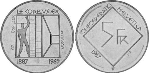 Modulor moneta 5 franchi 1987