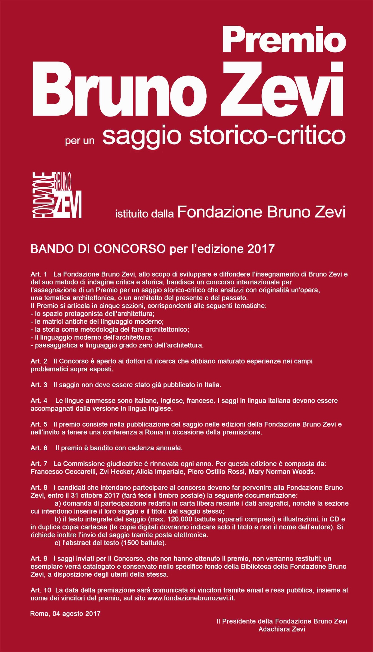 Premio Bruno Zevi 2017