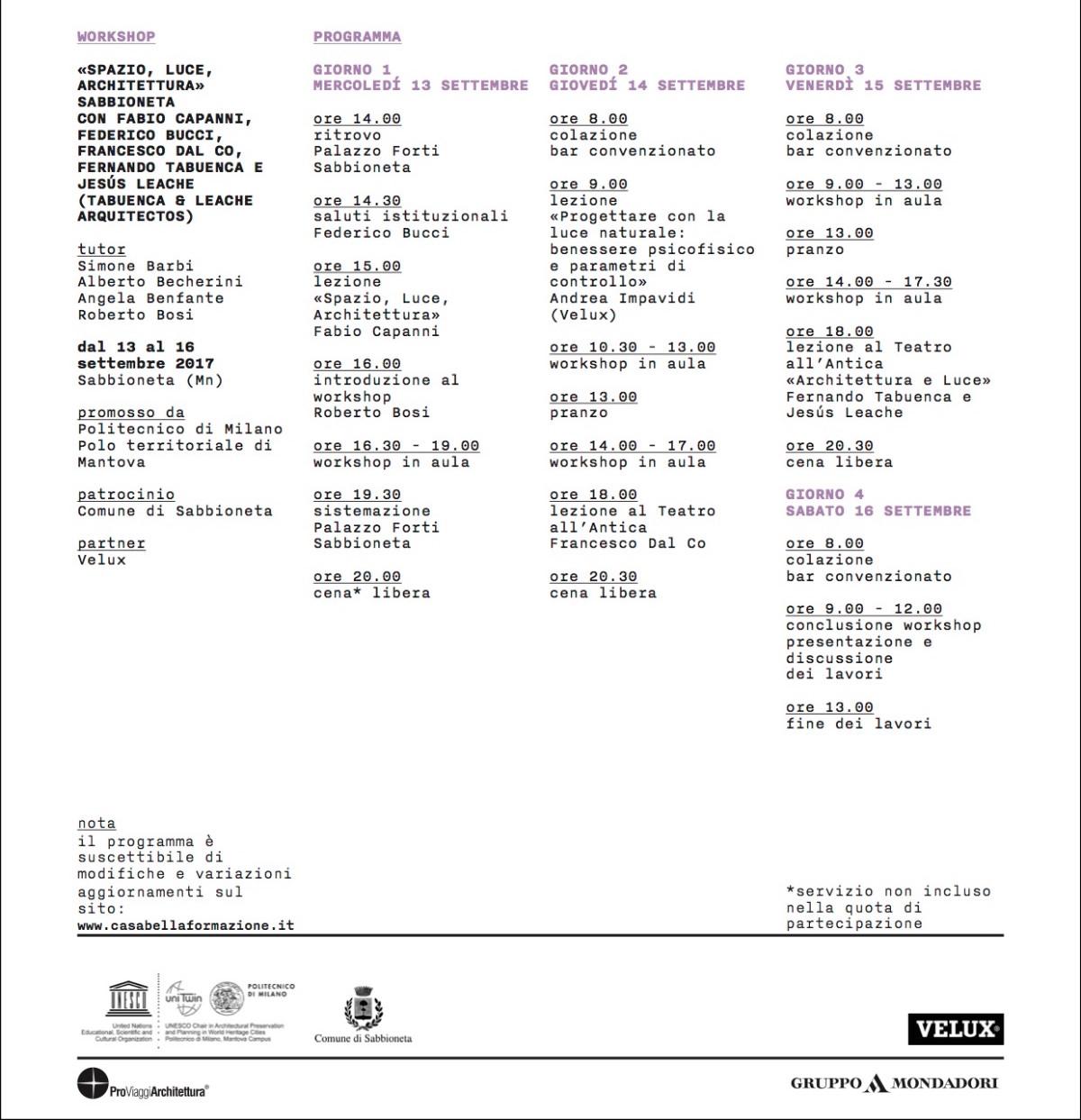 Sabbioneta.Spazio Luce Architettura 2017.update
