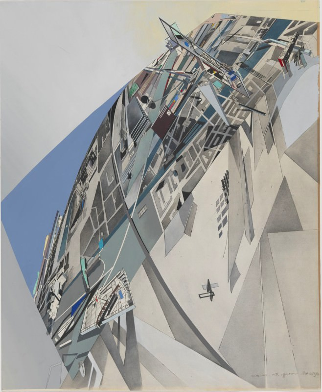 Zaha Hadid, The World (89 Degrees), 1984. Print with hand applied gouache and ink wash on paper. From the Collection of the Alvin Boyarsky Archive