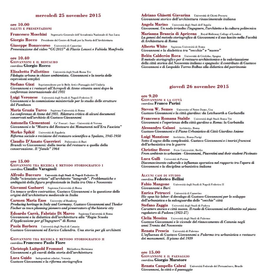 convegno G Giovannoni Roma Accademia S. Luca 2015 1