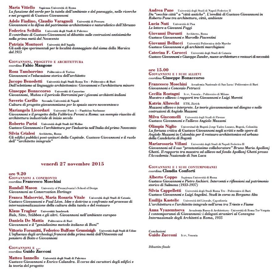 convegno G Giovannoni Roma Accademia S. Luca 2015 2