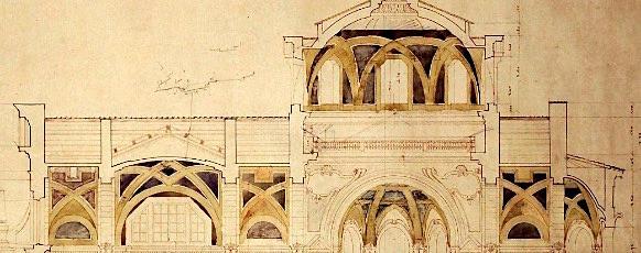 dettaglio da Gustavo Giovannoni chiesa degli Angeli Custodi a Roma sezione longitudinale
