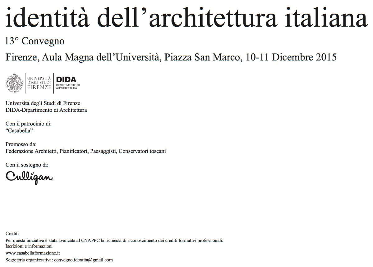 identità dell'architettura italiana