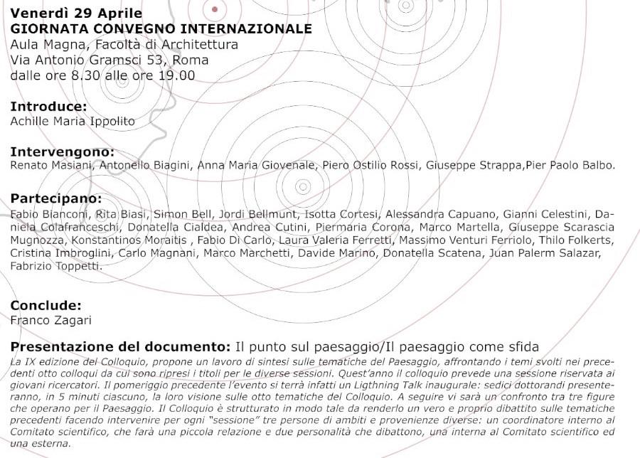 locandina IX Colloquio Internazionale sul Paesaggio b