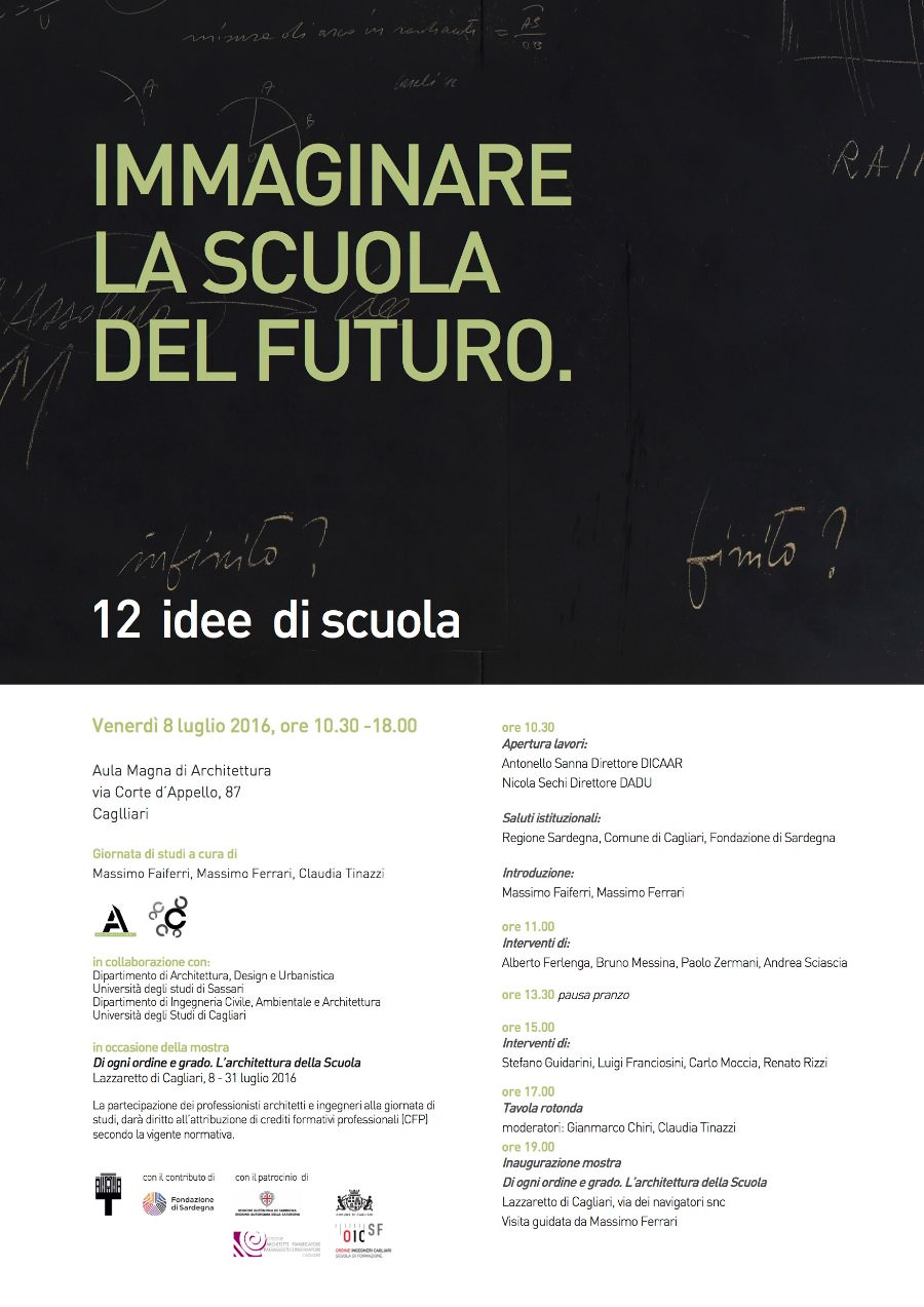 locandina convegno-Immaginare-la-scuola-del-futuro-12-idee-di-scuola-imagecredits-unica.it