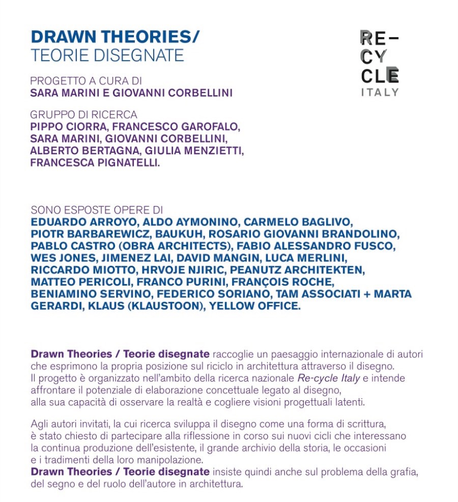 locandina della mostra Drawn Theories : Teorie disegnate imagecredits recycleitaly.it