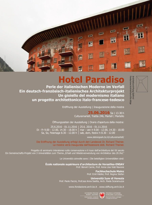 locandina della mostra Hotel Paradiso imagecredits fondazione.arch.bz.it