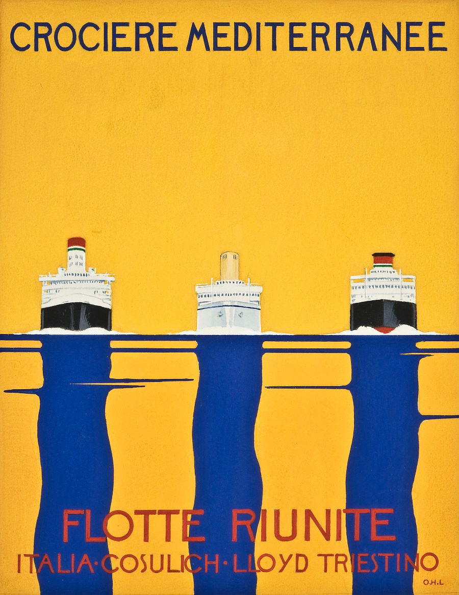 poster Crociere Mediterranee Lloyd Triestino