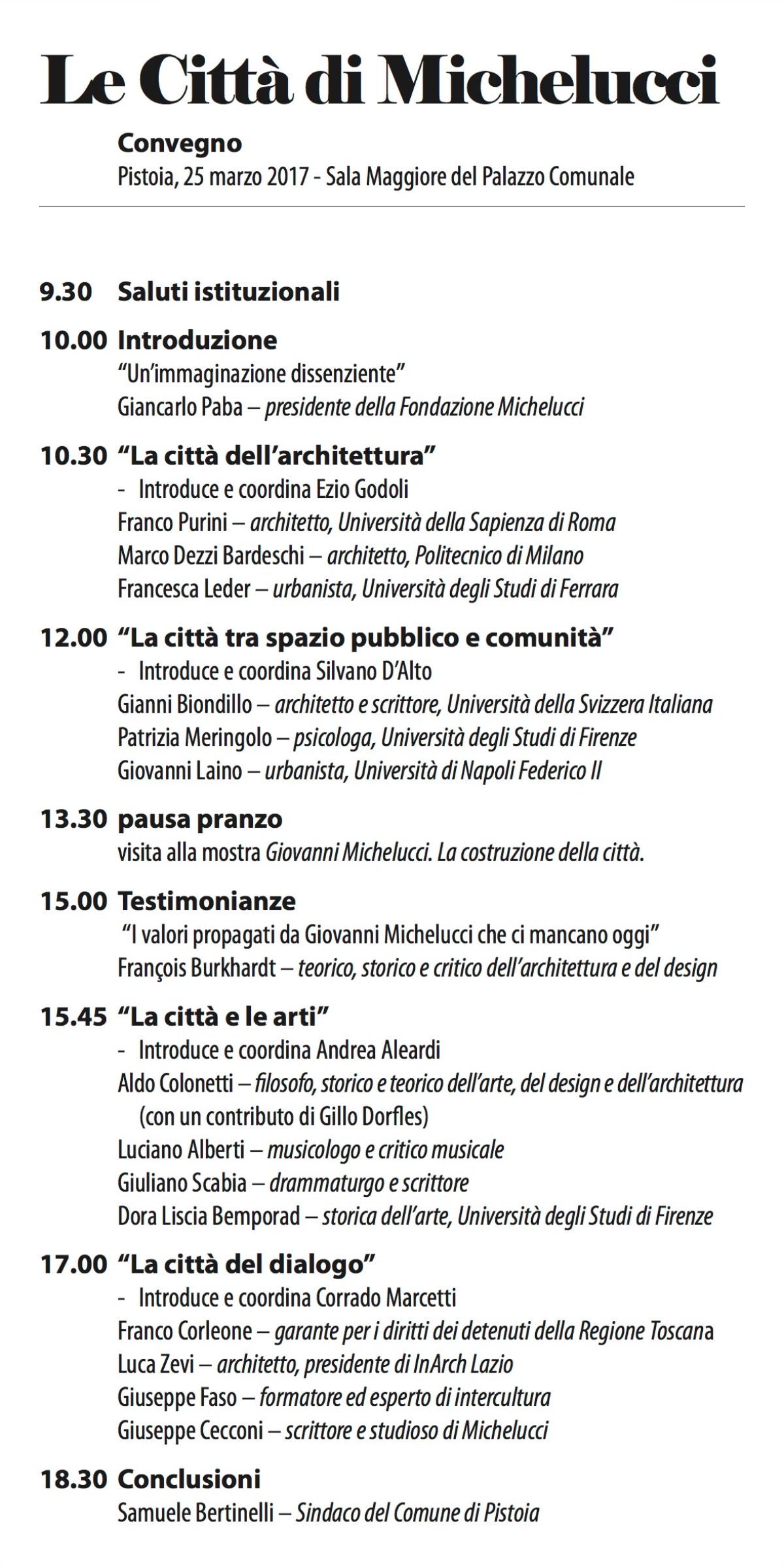 programma convegno Michelucci Pistoia 2017